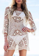 Lace Splicing Hollow Out Open Back Cover Up - White