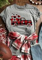 Plaid Striped Truck Heart T-Shirt Tee - Gray