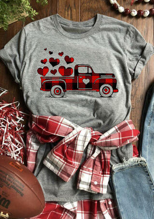 Valentine Plaid Printed Splicing Truck Heart T-Shirt Tee - Gray