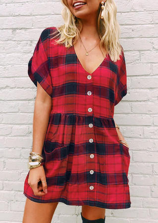 Plaid Pocket Button Mini Dress without Necklace - Red