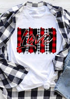 Love Plaid Printed Splicing T-Shirt
