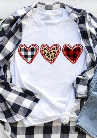 Plaid Leopard Printed Heart T-Shirt Tee - White