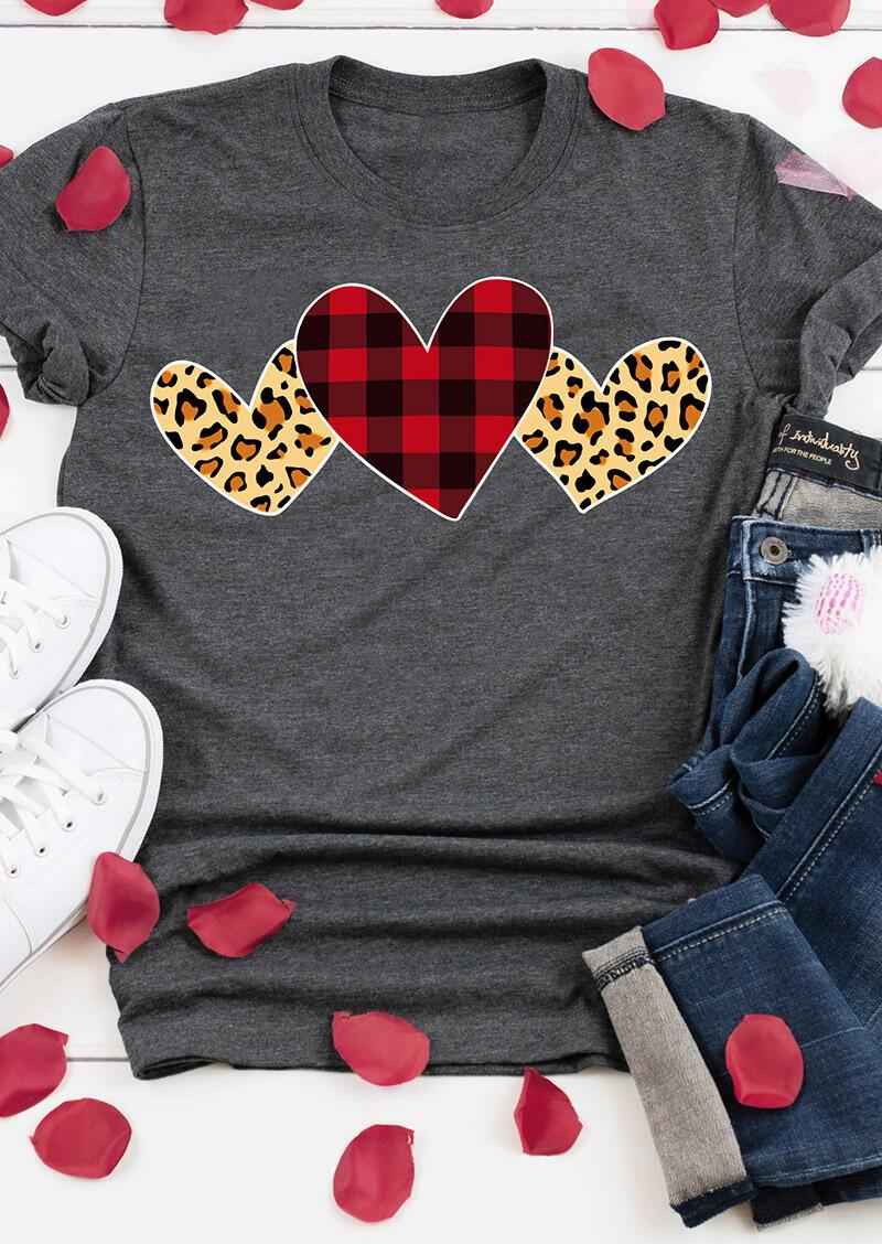 Plaid Leopard Printed Heart T-Shirt Tee - Dark Grey
