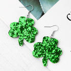 Sequined Lucky Shamrock Earrings