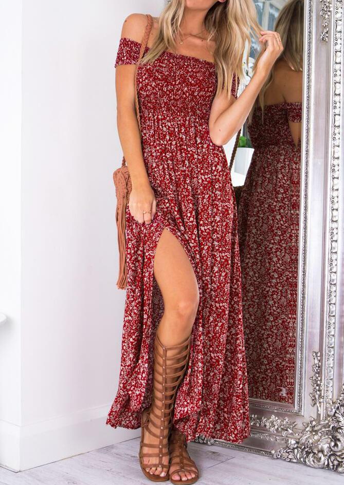Floral Off Shoulder Slit Maxi Dress