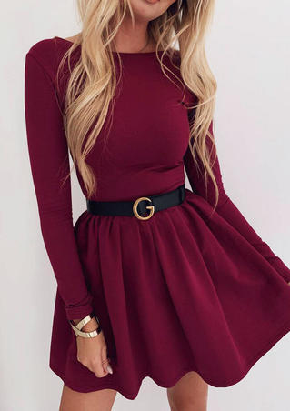 Solid O-Neck Mini Dress without Belt - Burgundy