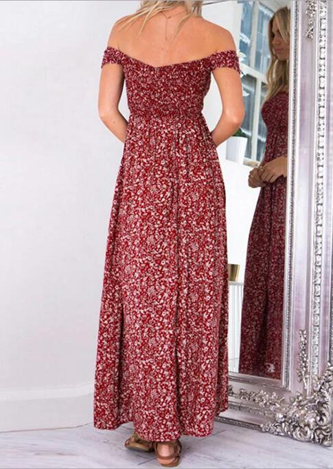 Floral Off Shoulder Slit Maxi Dress without Necklace