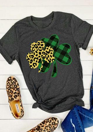 Plaid Leopard Printed Lucky Shamrock T-Shirt Tee - Dark Grey