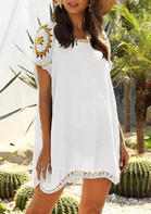 New Arrivals Floral Hollow Out Beach Cover Up - White