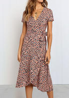 Summer New Arrivals Leopard Tie V-Neck Casual Dress