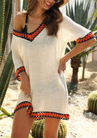 Summer Outfits Women V-Neck Beach Cover Up - Apricot