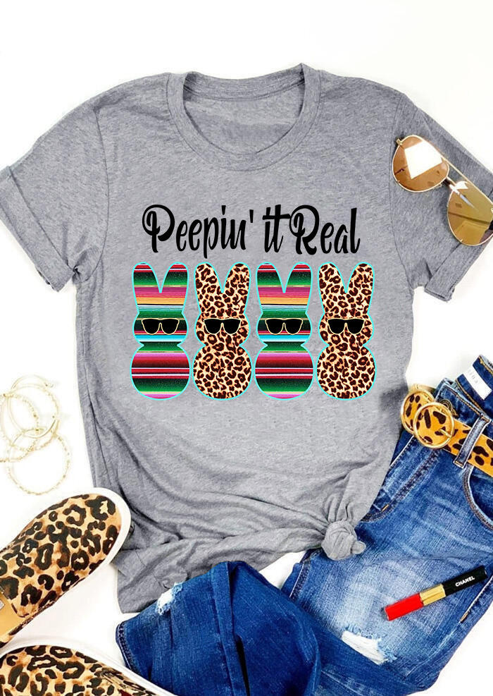 Peepin' It Real Easter Bunnies Leopard Printed Splicing T-Shirt Tee - Gray