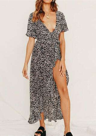 Floral Slit Asymmetric Maxi Dress without Necklace - Black