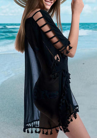 Hollow Out Tassel Cover Up - Black