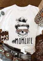 Mom Life Leopard Printed T-Shirt Tee - White