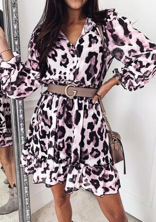 Leopard Printed Ruffled V-Neck Mini Dress without Belt