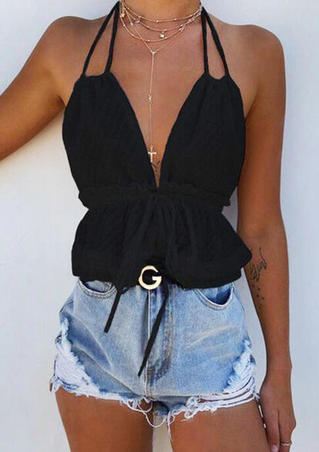 Halter Tie Ruffled Camisole without Necklace - Black