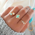 4Pcs Fashion Rhinestone Ring Set