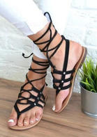 Summer Lace Up Round Toe Flat Sandals