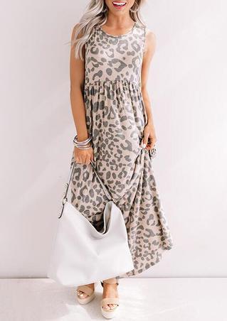 Leopard Ruffled Maxi Dress