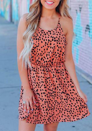 Leopard Spaghetti Strap Ruffled Mini Dress - Brick Red