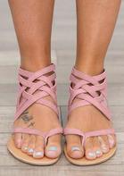 Summer Cross Tied Zipper Flat Sandals