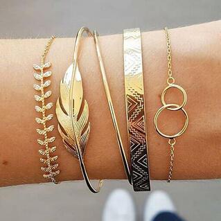 5Pcs Alloy Leaf Bracelet Set