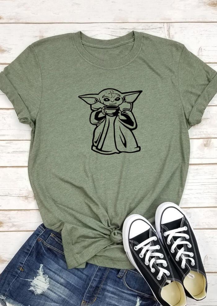 Cute O-Neck T-Shirt Tee - Army Green
