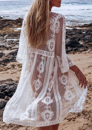 Floral Mesh Lace Splicing Cover Up - White