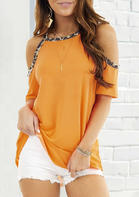 Summer Outfits Leopard Cold Shoulder Blouse - Yellow