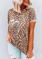 Leopard Printed Lips T-Shirt Tee
