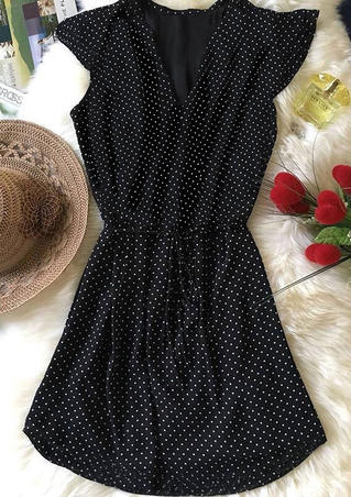 Polka Dot Drawstring Mini Dress - Black