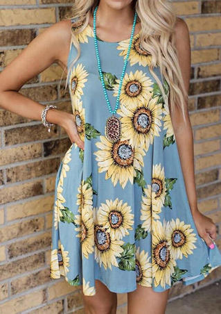 Sunflower Pocket Mini Dress without Necklace - Blue