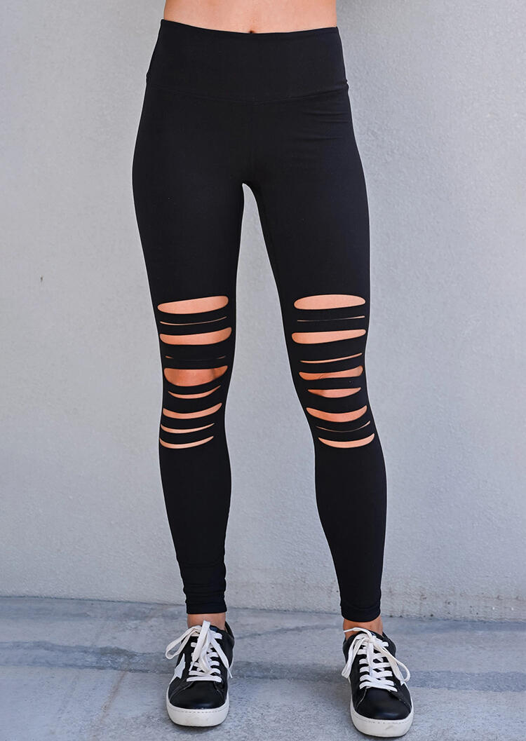 Hollow Out High Waist Sports Skinny Legging