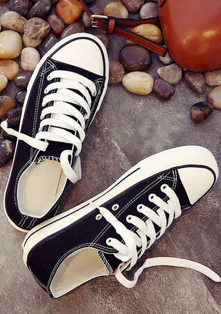 Solid Lace Up Canvas Sneakers