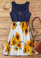 Summer New Arrivals Sunflower Splicing Ruffled Mini Dress