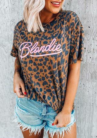 Blondie Leopard O-Neck T-Shirt Tee