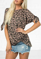 New Arrivals Women Leopard Hollow Out Tie Twist Blouse