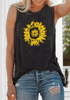 Sunflower Printed Tank - Dark Grey