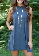 Summer Outfits Sleeveless Casual Mini Dress- Deep Blue