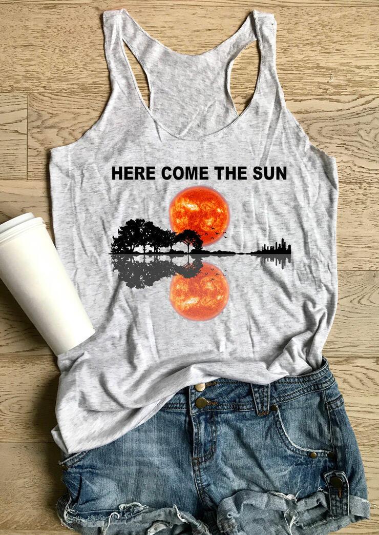 Here Come The Sun Guitar Lake Tank - Light Grey