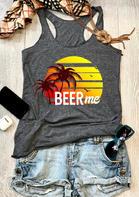 Beer Me O-Neck Racerback Tank - Dark Grey