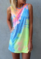 New Arrivals Tie Dye Hollow Out Sleeveless Mini Dress