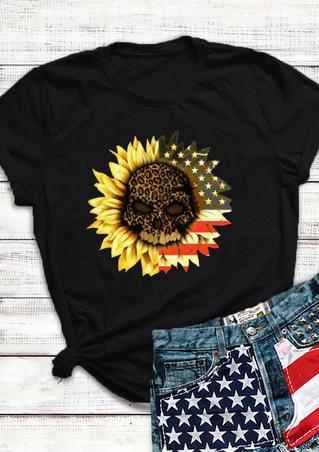 American Flag Leopard Skull Sunflower T-Shirt Tee -  Black