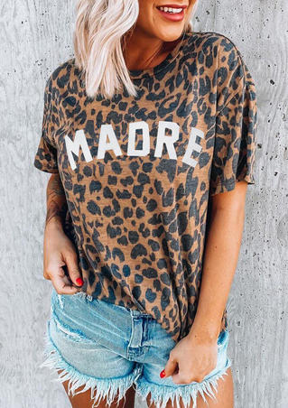 Leopard Madre T-Shirt Tee without Necklace