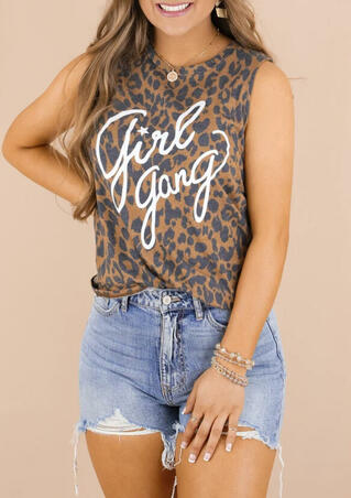 Girl Gang Star Leopard Tank without Necklace