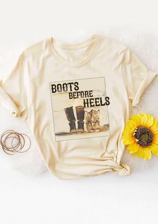 Boots Before Heels T-Shirt Tee - Light Yellow