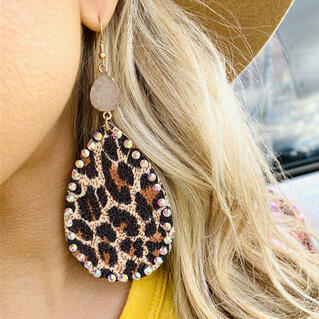 Leopard Rhinestone Leather Earrings