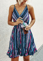 Summer Outfits Striped Ruffled Tie V-Neck Mini Dress - Blue