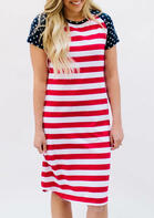 American Flag Star Striped Splicing Casual Dress